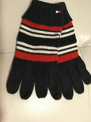 NWT Tommy Hilfiger Men's Navy Pinstriped Knit Gloves Acrylic O/S