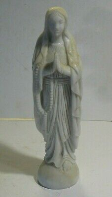Antique Hand Carved Italian Marble Blessed Mary Statue Sculpture