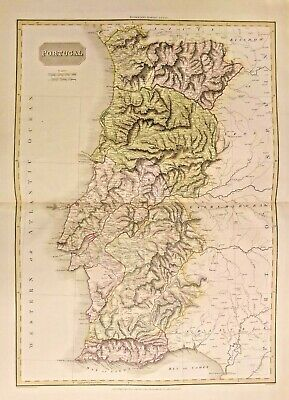 Antique Map Of Portugal 1813. Great Condition.colorized. Frameable.