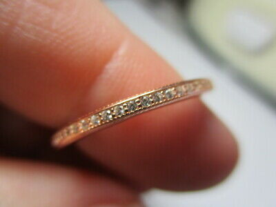 Sterling Silver 925 Estate Rose Vermeil Cubic Zirconia Eternity Ring Size 6.75