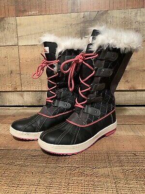 Totes Girls Youth 4 Pink Black Grey Fur Winter Snow Boots Sasha Kohls Lace Up