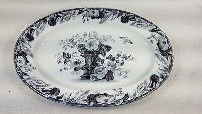 """Antique Flow Mulberry Ironstone Staffordshire 18"""" Oval Platter Furnival Avon"""