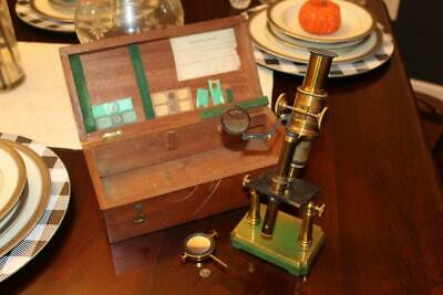 Antique 19th Century 1800's French Brass Microscope with Wooden Case & Samples