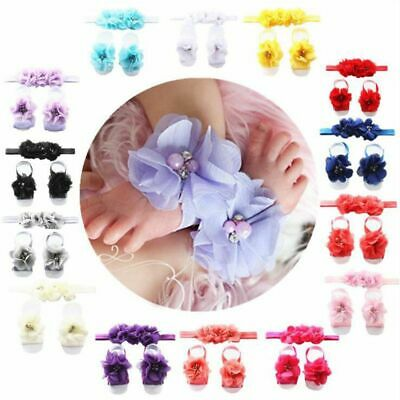 Baby Girl Rhinestone Flower Headband&Foot Band Barefoot Sandals Shoes Photo Prop