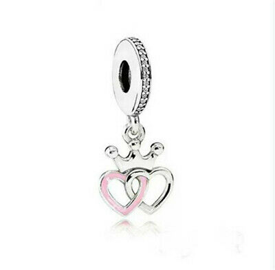 Fashion 925 Silver Crystal Heart Charm European Beads Fit Necklace Bracelet NEW