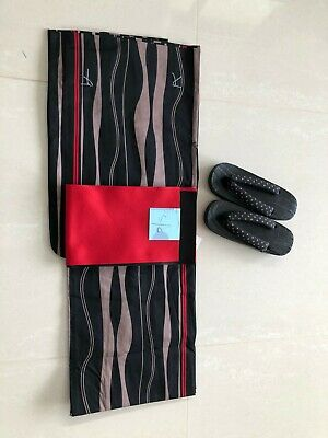 Authentic Japanese Summer Cotton Yukata  Kimono Set(Attractive Yukata,Obi,Geta)
