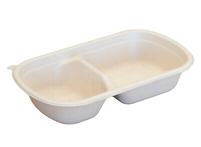 750ml Takeaway Base 2-Compartment Sugarcane Bagasse Tableware Compostable x500