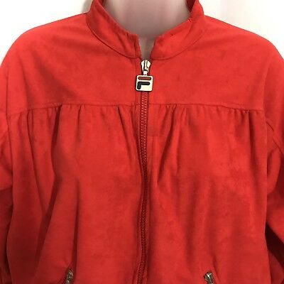 Fila Ladies Microfiber Velour Track Suit Red Size 8 Vintage