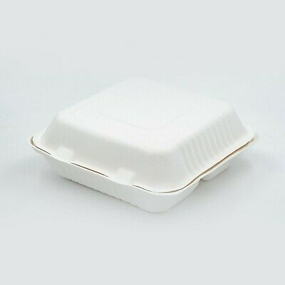 "Take away Containers 9x9x3"" Sugarcane Clamshell 3-compartment Eco Compostable"