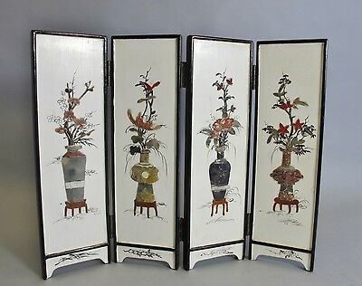 """Fine 14"""" Tall ANTIQUE CHINESE Screen w/ Inset Hardstone Flowers  c. 1930 +"""