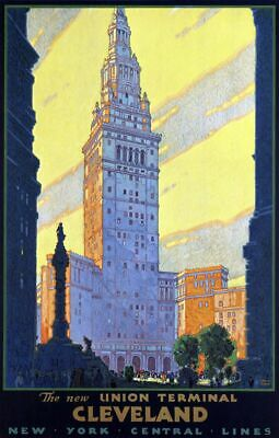 "Vintage Illustrated Travel Poster CANVAS PRINT Cleveland Union Terminal 24""X16"""