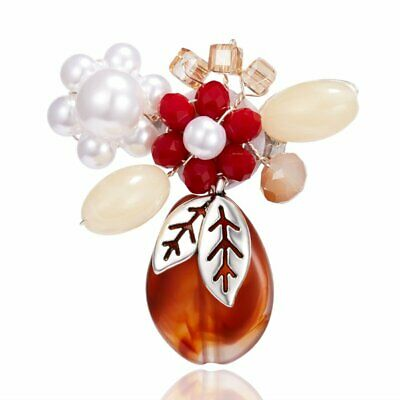 Fashion Crystal Red Pearl Resin Flower Brooch Pin Women Lady Wedding Jewelry Hot