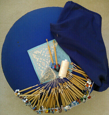 Large Straw Filled Lacemaking Pad with c.50 Spangled Bobbins