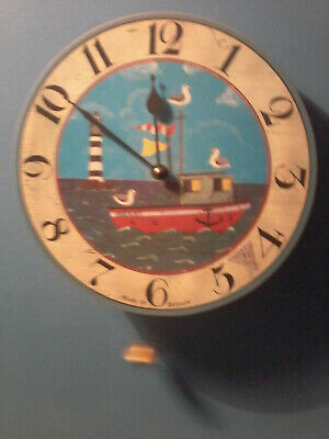 VINTAGE HAND PAINTED SEASIDE CLOCK - with brass pendulum