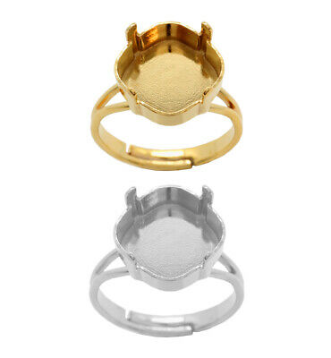 Brass Adjustable Ring Bases for 4470 Square Fancy Crystals * Choose Color
