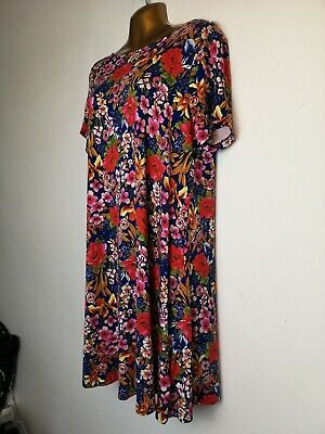 New Tags M & S collection 16 blue pink floral T shirt stretch holiday tea dress