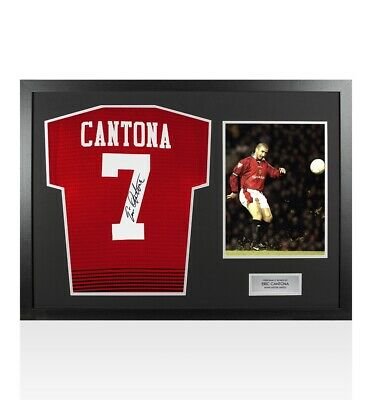 Framed Eric Cantona Signed Manchester United Shirt - Retro Number 7 - Panoramic