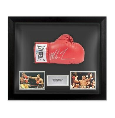 Framed Mike Tyson Signed Red Everlast Boxing Glove - Signed Silver Autograph