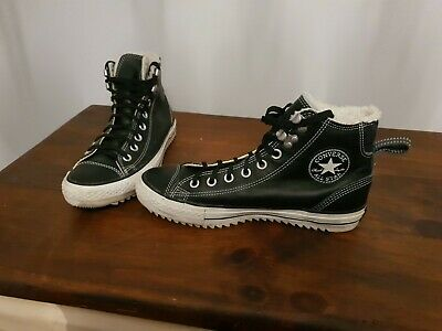 Converse chuck taylor all star black leather shearling city hiker boots size 7