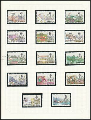 St. Helena, 1971 Definitives Set of 14 on Page. SG 261-74 Unmounted Mint MNH