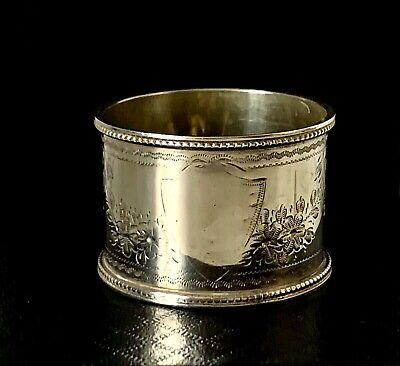 Antique Victorian 1884 - Solid sterling Silver Floral Engraved Napkin Ring - 20g