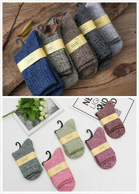 5 Pairs Men Women Wool Cashmere Thick Warm Soft Solid Casual Sports Socks Winter