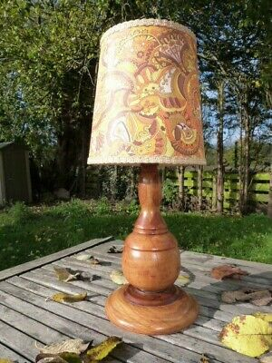 Lovely Vintage Inlaid Wooden Table Lamp With Shade.