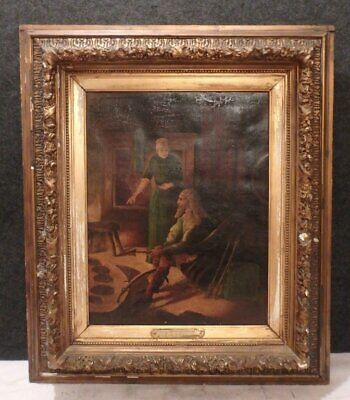 Antique 1867 Illustration Oil Painting King Alfred And The Cakes By Sayeo
