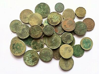36 Old English Milled Coins As Dug Metal Detecting Finds