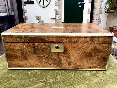 Superb Georgian Top Quality Blonde Burr Walnut Military Campaign Writing Slope