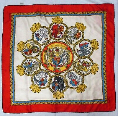Vintage Jacqmar silk scarf of The Queen's Beasts  - 10 heraldic royal creatures