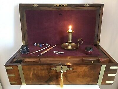 Beautiful Victorian1865 Military Campaign Figured Walnut Writing Slope + Drawers
