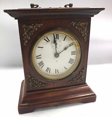 Vintage Wooden HAC MANTEL Clock with Patterned Front & Second Counter  - T06