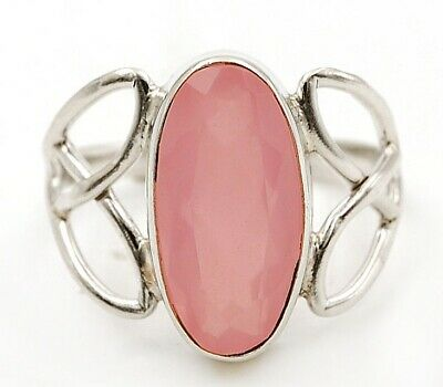 Flawless Faceted Rose Quartz 925 Solid Sterling Silver Ring Jewelry Sz 6.5