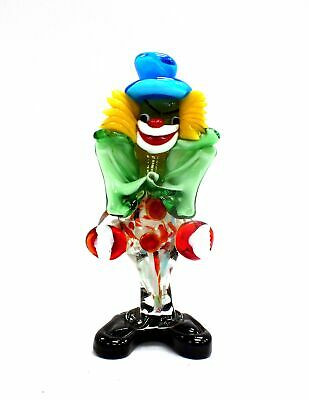 "Vintage ITALIAN MURANO 7"" ART GLASS CLOWN Ornament Figurine Multicoloured - W75"