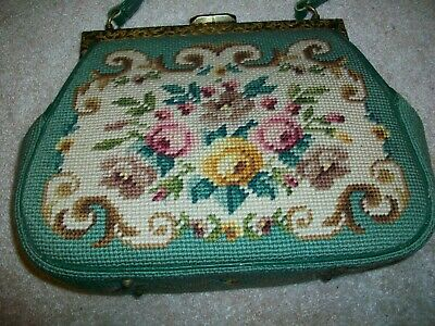 Vintage Needlepoint Purse Specially Hand Made By Ruth Floral