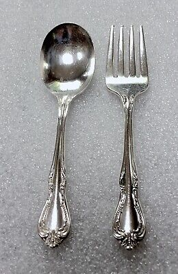 Vintage Wm. A. Rogers Oneida Silverplate Infant Fork And Spoon Set