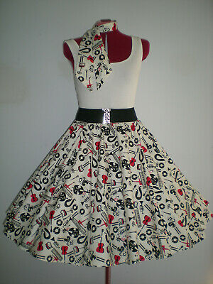 "ROCK N ROLL/ROCKABILLY ""Anything Musical"" SKIRT-SCARF L-XL White/Red Black."