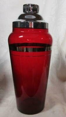 ART DECO RUBY GLASS COCKTAIL SHAKER w SILVEVR BANDS & CHROME LID   VGC