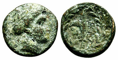 Rare Ancient Greece 3 cent  BC Larissa THESSALY Kremaste Nymph Harpa
