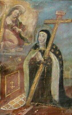 18th/19th Century Spanish Colonial Religious oil Mary Holding Cross &Angel Above