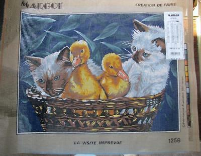 Siamese Kittens & Baby Ducklings Needlepoint/Tapestry Canvas Margot