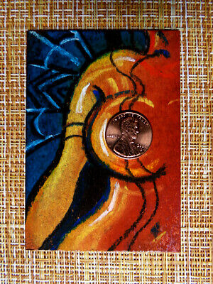 ACEO original pastel painting outsider folk art brut #010307 abstract surreal