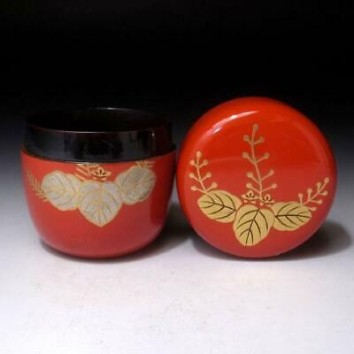VL11: Vintage Japanese Lacquered Wooden Tea Caddy, NATSUME, MAKIE, Paulownia