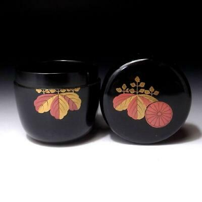 VL12: Japanese Lacquered Wooden Tea Caddy, NATSUME, Imperial seal, Emperor seal