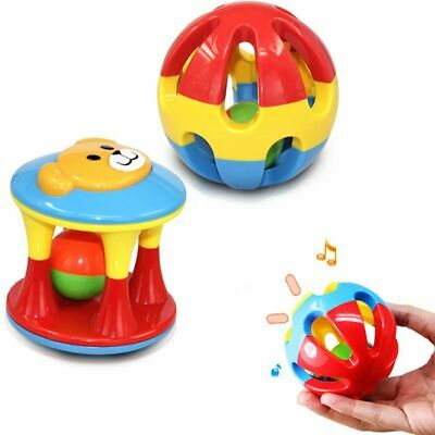 Kids Lovely Early Educational Plastic Ball Cartoon Hand Bell Baby Rattles Toy