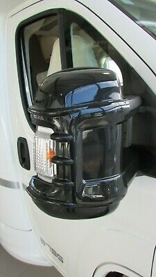 Motorhome Mirror Protectors Long Arm Black  New Style Fits Fiat Ducato 2006 On