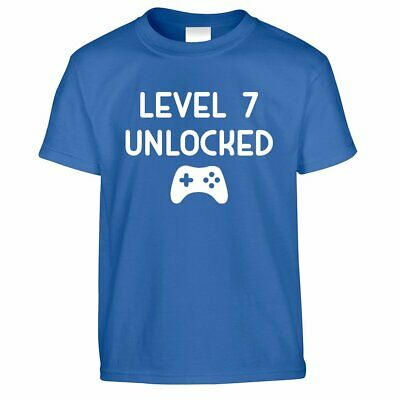 Gamers 7th Birthday Kids T Shirt Level 7 Unlocked Kids Video Game Gift Idea