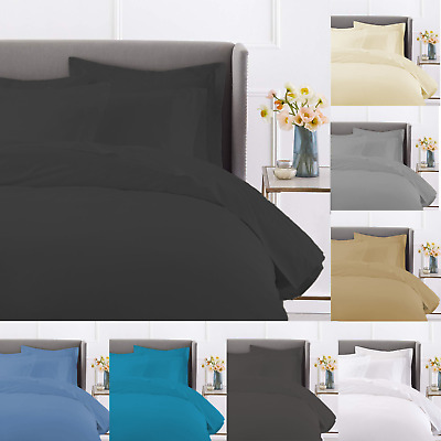 100% Egyptian Cotton Duvet Quilt Cover Bedding Set With Pillowcases In All Sizes