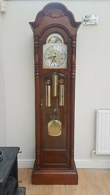 SLIGH Mahogany Brass Dial Longcase GRANDFATHER CLOCK With Triple Chime Movement
